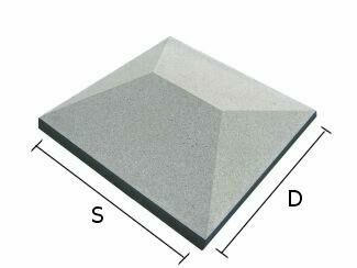 Daszek betonowy czterospadowy na słupki ogrodzeniowe 34x34 cm (kapelusz betonowy)
