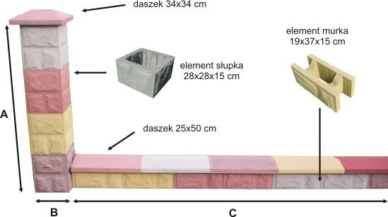 Przęsło ogrodzeniowe betonowe – przykład 1