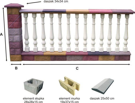 Przęsło ogrodzeniowe betonowe z tralkami - przykład 1