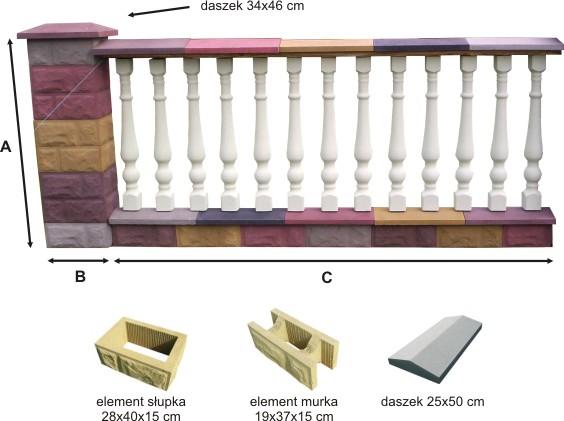 Przęsło ogrodzeniowe betonowe z tralkami - przykład 2