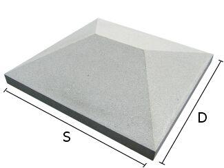 Daszek betonowy czterospadowy na słupki ogrodzeniowe 50x50 cm (kapelusz betonowy)